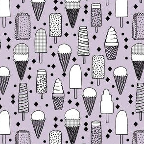 Ice Cream - Lavender/Grid (Smaller Version) by Andrea Lauren