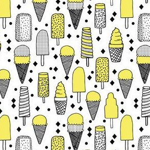 Ice Cream - Canary Yellow/Grid/White (Smaller) by Andrea Lauren