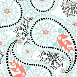 Paisley in mint and coral