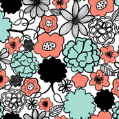Chelsea Floral in Coral Mint Black White