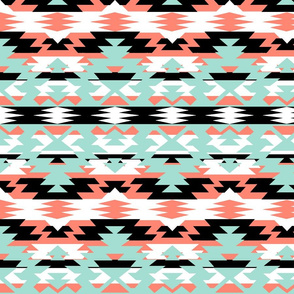 Navajo Tribal Print - coral, mint, black, white