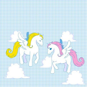 My little Pegasus on baby blue Gingham