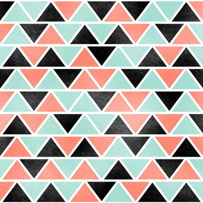 Tribal Coral Mint Black White Triangles