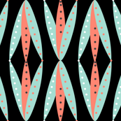 Pennant Rose Ogee - Coral Mint Black White