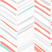 Herringbone Hues of Coral & Mint by Friztin