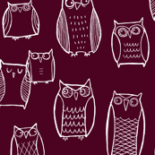 Little Night Owl burgundy/white