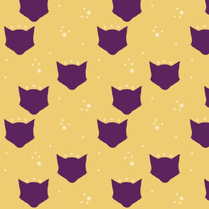 kittyhead: purple & gold