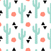Desert Cactus Coral, Mint, and Black on White