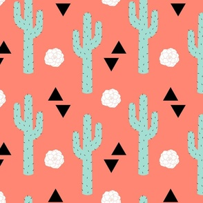 Desert Cactus Mint, White, and Black on Coral