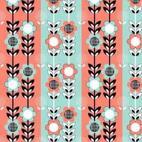 Coral Mint Floral Stripe
