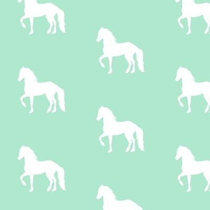 White Prancing Horse on Mint