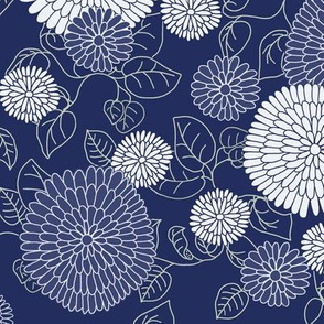 Chrysanthemums in indigo