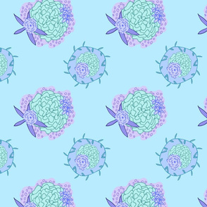 Blue Creepy Floral Pattern