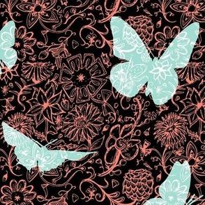 Coral Mint Butterflies