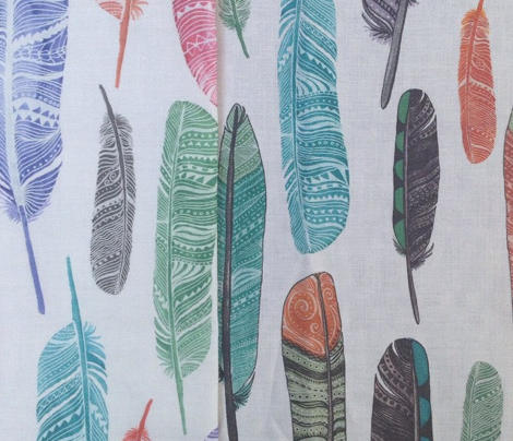 Watercolor Feathers Fabric Design 2