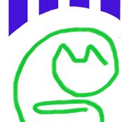 Paper Clip Cat Green Blue