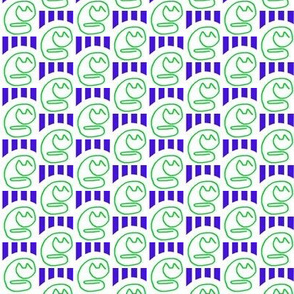 Paper Clip Cats Green Blue