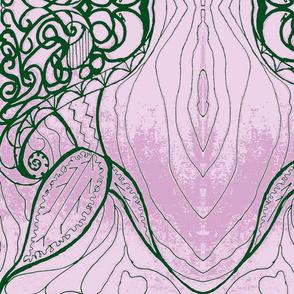 Dances with leaves green & lavendar