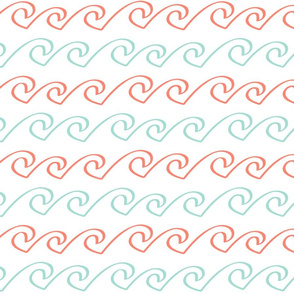Wave - Mint and Coral