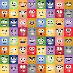 Cartoon Face Expressions (4x4)