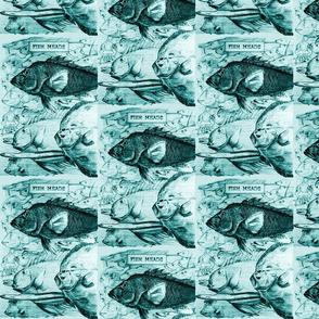 vintage animal sketches - fish heads