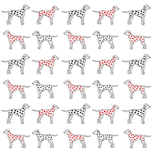 Dalmatian Playing Cards Print Black and Red