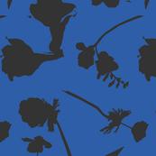 floral papercut blue