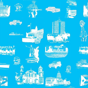 Cuban Landmark Toile Ocean Blue