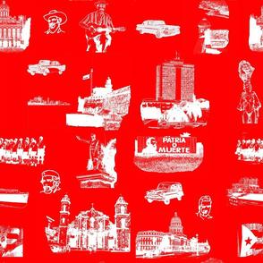 Cuban Landmark Toile Red