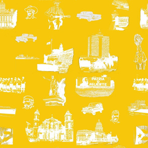 Cuban Landmark Toile Yellow