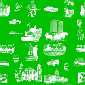 Cuban Landmark Toile Green