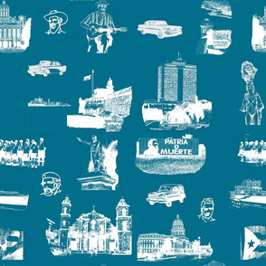 Cuban Landmark Toile French Blue