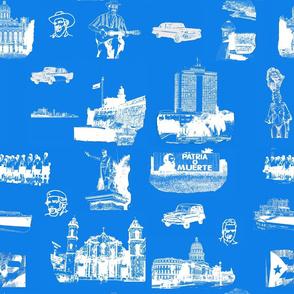 Cuban Landmark Toile Blue
