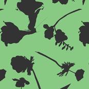 floral papercut green