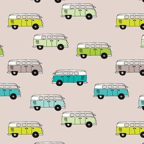 Cute vintage summer hippie van in blue lime and beige illustration pattern for kids