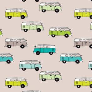 Cute vintage summer hippie van in blue lime and beige illustration pattern for kids