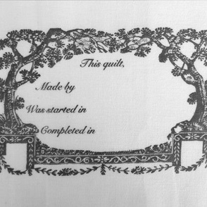Quilt Label Plate Black and White