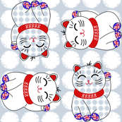 Maneki neko lucky cats, 4 directional on puffballs