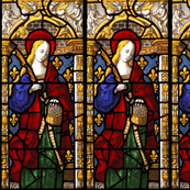 Saint Dorthy Stained Glass Window, 1500s Swatch Sized Scale