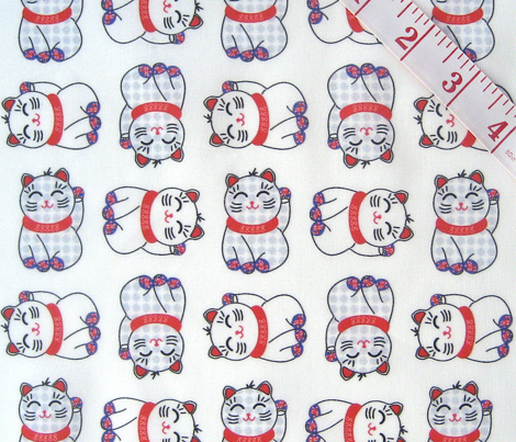 Small maneki neko lucky cats, 4 directional on white by Su_G