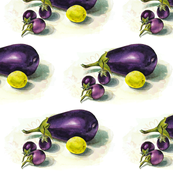 eggplants and lime