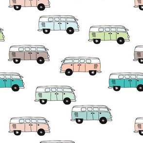Soft pastel VWbus summer van illustration cool vintage car theme