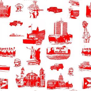 Cuban Landmark Toile Red on White
