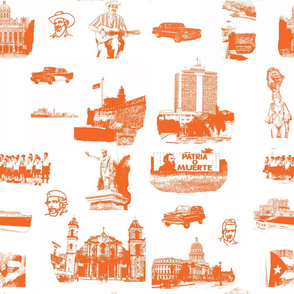 Cuban Landmark Toile Orange on White