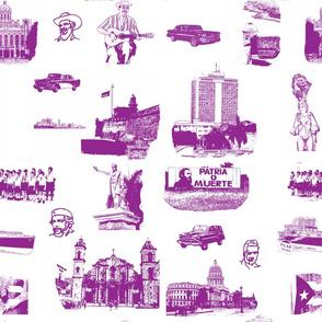Cuban Landmark Toile Purple on White