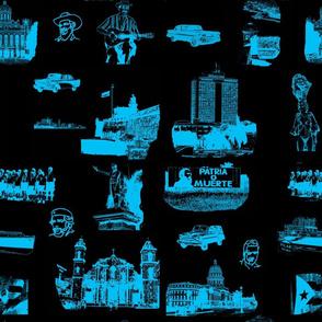 Cuban Landmark Toile Blue on Black