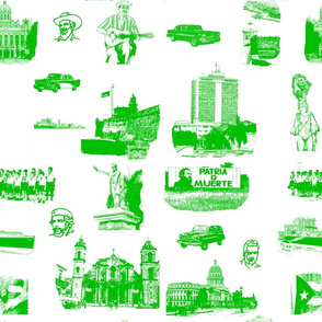 Cuban Landmark Toile Green on White