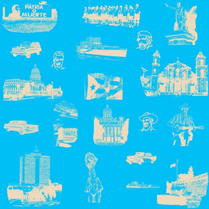 Cuban Landmark Toile Buff on Mediterranean_Blue
