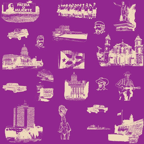 Cuban Landmark Toile Buff on Purple
