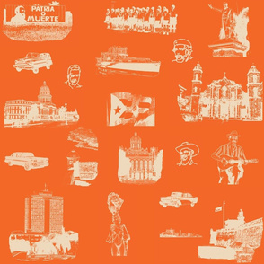 Cuban Landmark Toile Buff on Orange
